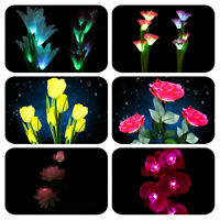 Solar Powered Flower Lamp Outdoor Stake Party LED Lily Rose Lights Garden Yard