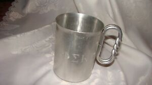 Mid Century Hammered Aluminum Mug PHI SIGMA KAPPA Vintage
