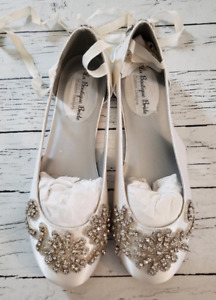 Dyeables 7.5 B NEW white satin leather sole shoes flats wedding formal