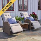 Rattan Garden Recliner Armchair Adjustable Furniture Chair Table Conservatory Uk