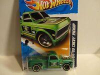2012 Hot Wheels #140 Green Custom '69 Chevy Pickup w/Yellow Rim Wheels