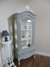 Shabby Chic Display Cabinet In Mercury Grey - French Glass Display Cabinet