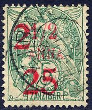 ZANZIBAR (FRENCH PO'S) 1904 2.25 ON ½A ON 5C GREEN VERY FINE CDS USED. SG 70.