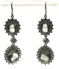 Sterling Silver 925 Double Oval Green Beryl CZ Halo Drop Dangle Hook Earrings
