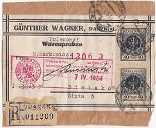 1934 POLAND PORT GDANSK DANZIG BIELTZ OVERPRINT PARCEL HIGH FRANKING RARE !