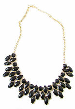 Black and Gold Art Deco Chain Necklace Great Gatsby 1920s Flapper Vintage 8AU