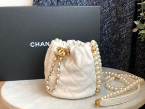 CHANEL MINI WHITE LEATHER CALFSKIN BUCKET BAG PEARL GOLD HW BAG