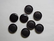 8pc 22mm Black /& Wedgewood Blue Feathered Effect Mock Horn 4 Hole Button 5539