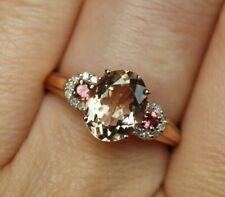 New 10K Sz6.25 Oval Morganite & Pink Tourmaline & Diamond 3 Stone Ring Rose Gold
