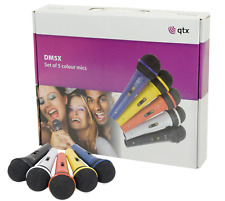 Set of 5 Dynamic Coloured Microphones perfect for Karaoke including cables
