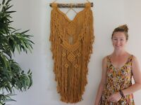 large mustard macrame wall hanging modern tapestry Australia hand made driftwood