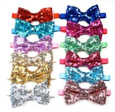 Cute Christmas Party Birthday Dog Cat Puffy Sequin Bow Tie Collar Adjustable