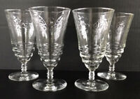 "Vintage Libb Rock Sharpe Cut Crystal Normandy Iced Tea Goblets 6 3/8"" Set Of 4"