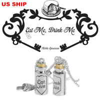 US! Alice In Wonderland Drink Me Eat Me Charm Couple Necklace Pendant  Jewelry