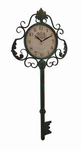 Zeckos Green Antique Key Shaped Vintage Finish Metal Wall Clock