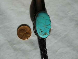 "Oval spider web 1 1/2""x1"" TURQUOISE BOLO TIE braided black leather 44"" L Western"