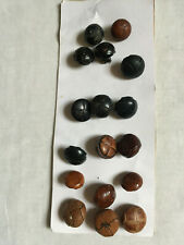 TRUE VINTAGE 17Assorted Brown & Black Real Leather Round Shank Buttons