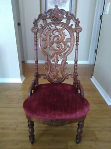 LAFU* Western Style Antique Chair from 18th Century Wood with Cushion Seat