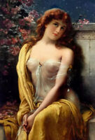 Oil painting emile vernon - starlight beautiful young lady girl beauty & flowers