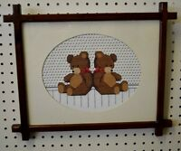 VINTAGE Teddy Bear HANDMADE Cross Stitch PICTURE Hanging WOOD frame