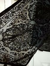 Large Black Devore Velvet Silk Scarf Detailed Circular Pattern