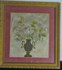 Antique 19Th C. English Silk Embroidered Flower Vase In Frame Uu801