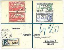 GIBRALTAR -  POSTAL HISTORY: REGISTERED COVER to ITALY : 1947