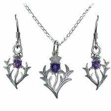 Scottish Sterling Silver Amethyst Thistle Pendant/Necklace & Earring Gift Set
