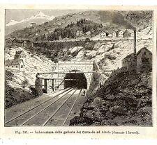 Stampa antica Gottardo AIROLO Ticino Svizzera 1889