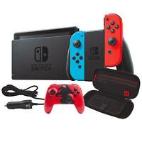 NEW Nintendo Switch Bundle Red/Blue Joy-Con Wireless Controller Case Car Charger
