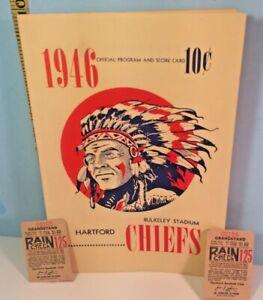 1948 Hartford Chiefs Eastern League Baseball Program Unscored with Ticket Stubs