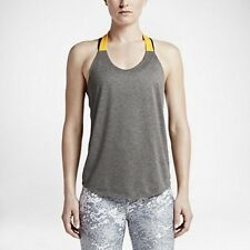 NWT Nike Women's Elastika Solid Tank Top 727749 Color Yellow/Grey Size XL