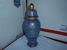 "BEAUTIFUL VTG/ANTIQUE GOLD GUILDED CHINESE DECORATED 13"" BLUE PORCELAIN URN JAR"