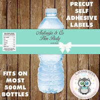 PERSONALISED HEN PARTY TEAL BLUE TIFFANY Co WATER BOTTLE LABELS PARTY FAVOURS
