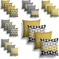 "Set Of 4 Ochre Grey Chenille Cushion Covers 18"" Geometric Yellow Silver Cover"