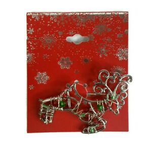 """Flying Reindeer Christmas Brooch Pin Silver With Holiday Colored Beads 2"""" NEW"""