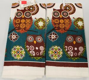 """SET OF 2 SAME PRINTED KITCHEN TOWELS (15"""" x 25"""") MOROCCAN KABASH OWLS by AM"""