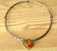 VINTAGE BROWN ENAMEL CHOKER NECKLACE WITH AMBER PENDANT