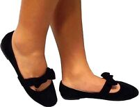 New Women  Black Mary Jane Front  Strap with bow Ballet Flats sz 5 to 10 #2859