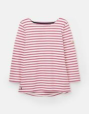 Joules Womens 209041 3/4 Length Sleeve Jersey Striped Top - Cream Pink Stripe