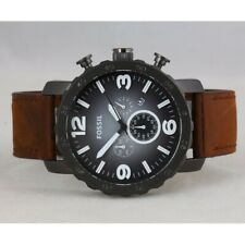 Fossil Mens Nate Chronograph Watch JR1424 Leather Strap
