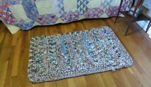 Hand crochet rag rug, shabby cottage chic, country farm house appeal blue beige