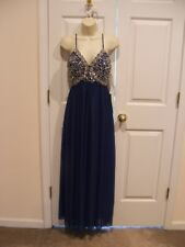 NWT MY MICHELLE EVENING PROM Embellished Sleeveless Beaded Gown Royal Blue SZ 1