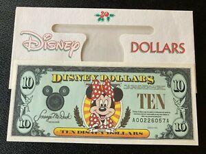 Minnie Disney Dollar $ 10 AA 6 Digits A00226057A W/Envelope 1996 F/S UNC Crisp