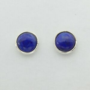 Blue LAPIS LAZULI Post / Stud 7mm 10mm Earrings 925 STERLING SILVER #34-35e