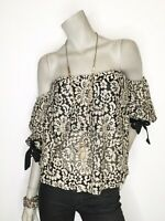 Flying Tomato Large Ivory Lace Lined Off Shoulder 3/4 Sleeve Top Shirt Blouse