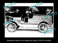 OLD LARGE HISTORIC PHOTO OF EKETAHUNA FIRE BRIGADE TRUCK, 1930s NEW ZEALAND