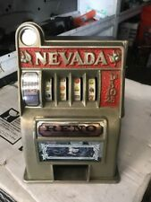 Vintage Nevada Reno Toy Slot Machine Bank Coin (m1)