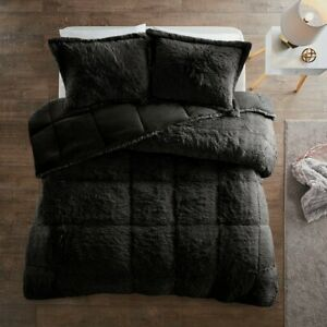 ULTRA SOFT PLUSH BLACK FAUX FUR Duvet Cover * SET : SHAGGY BEAR HUG BEDDING