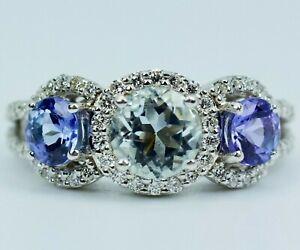 Le Vian Aquamarine & Tanzanite Ring 1/3 ct tw Diamonds 14K Gold Ring Size 4